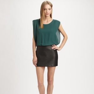 Parker silk and leather mini dress